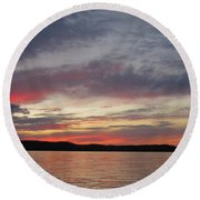 Painted Sunset On Gunflint Lake Round Beach Towel