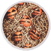 painted tangerines for Halloween Round Beach Towel