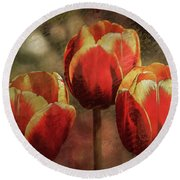 Painted Tulips Round Beach Towel by Richard Ricci