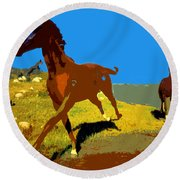 Painted War Horses Round Beach Towel