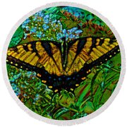 Painted Yellow Swallowtail Round Beach Towel