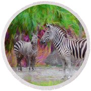 Painted Zebra Round Beach Towel