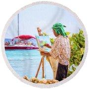 Painter At Work, Holetown Beach, Barbados Round Beach Towel