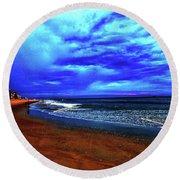 Painterly Beach Scene Round Beach Towel