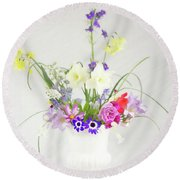 Painterly Homegrown Floral Bouquet Round Beach Towel