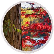 Painterly Rendition Of Red Leaves And Tree Trunk In Autumn Round Beach Towel