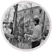 Painters In Montmartre, Paris, 1977 Round Beach Towel