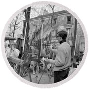 Painters In Montmartre, Paris, 1977 Round Beach Towel