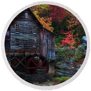 Painting Babcock State Park Glades Creek Grist Mill West Virginia Round Beach Towel