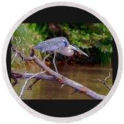 Painting Blue Heron Oak Creek Round Beach Towel