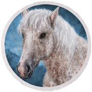 Painting Of A Brindle Horse With White Coat Round Beach Towel