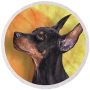 Painting Of A Cute Doberman Pinscher On Orange Background Round Beach Towel