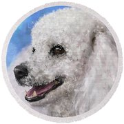 Painting Of A White Fluffy Poodle Smiling Round Beach Towel