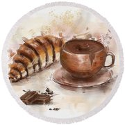 Painting Of Chocolate Delights, Pastry And Hot Cocoa Round Beach Towel