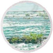 Painting Of Niagara Falls Round Beach Towel