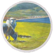 Painting Of Sheep On A Cliff Top Round Beach Towel