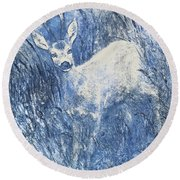 Painting Of Young Deer In Wild Landscape With High Grass. Graphic Effect. Round Beach Towel