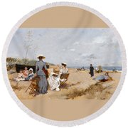 Painting On The Beach  Round Beach Towel