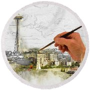 Painting Seattle Round Beach Towel