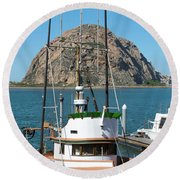 Painting The Trudy S Morro Bay Round Beach Towel