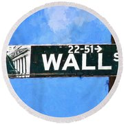 Painting Wall Street Round Beach Towel