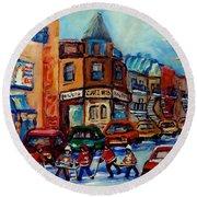 Paintings Of Montreal Hockey On Fairmount Street Round Beach Towel