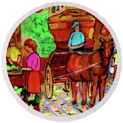 Paintings Of Montreal Streets Old Montreal With Flower Cart And Caleche By Artist Carole Spandau Round Beach Towel