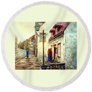 Paintings Of Quebec Landmarks Aux Anciens Canadiens Restaurant Rainy Morning October City Scene  Round Beach Towel
