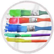 Paints And Brushes  Round Beach Towel