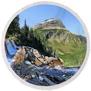Paiota Falls - Glacier National Park Round Beach Towel
