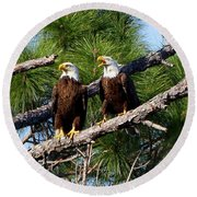 Pair Of American Bald Eagle Round Beach Towel