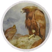 Pair Of Golden Eagles By Thorburn Round Beach Towel