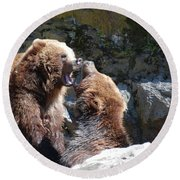 Pair Of Grizzly Bears Biting At Each Other Round Beach Towel