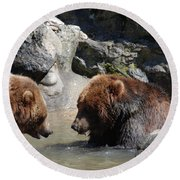 Pair Of Grizzly Bears Wading In A Shallow River Round Beach Towel