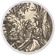 Pair Of Lovers In A Landscape Round Beach Towel