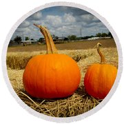 Pair Of Perfect Pumpkins Round Beach Towel