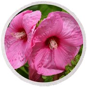 Paired In Pink Round Beach Towel