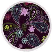 Paisley Abstract Design Round Beach Towel