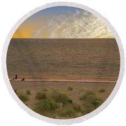 Pakefield Beach Sunset Round Beach Towel