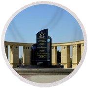 Pakistan Air Force Martyrs Monument Honoring Dead Pakistani Airmen At Paf Museum Karachi Pakistan Round Beach Towel
