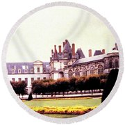 Palace Of Fontainebleau 1955 Round Beach Towel