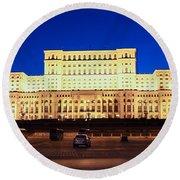 Palace Of Parliament At Night Round Beach Towel