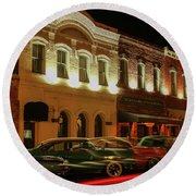 Palace Saloon Car Show Drive By Round Beach Towel
