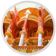 Palau De La Musica Catalana Window Round Beach Towel
