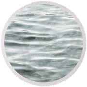 Pale Aqua Water Ripples Round Beach Towel
