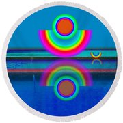 Pale Blue Reflections Round Beach Towel