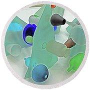 Pale Pastel Whites Gray Background Angles Rounds Blues Grays Yellow Orange Black Greens 2 9132017 Round Beach Towel