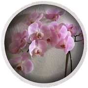 Pale Pink Orchids B W And Pink Round Beach Towel