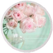 Pale Pink Roses Round Beach Towel