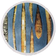 Paleolithic Spears Round Beach Towel